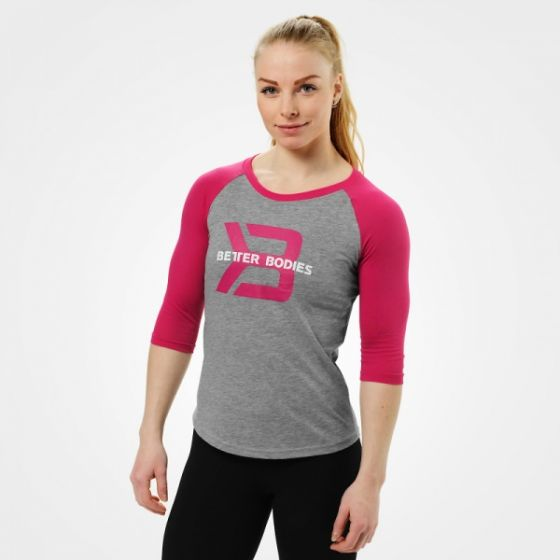 Womens Baseball Tee - Grey Melange / Pink