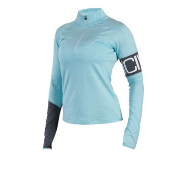 Melange Insert Long Sleeve Zip Dame - Grey / Blue