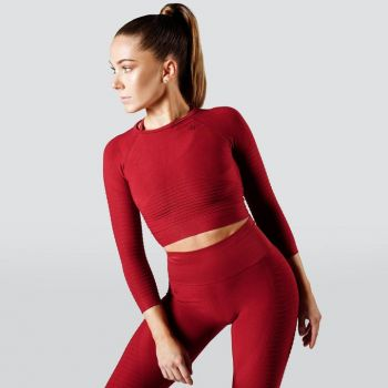Regalia Flow Crop 3/4 Sleeve - Mars Red