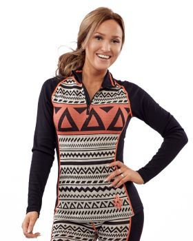 Aztec Longsleeve - Black/ White/ Orange